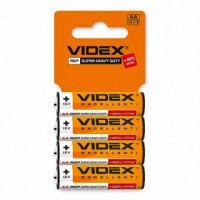 Батарейка солевая Videx R6P/AA 4pcs SHRINK CARD