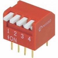 DIP переключатель, 4 секции, угловой (DP-04)