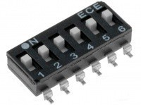 DIP переключатель, 6 секций, SMD (DM-06)