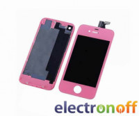 Дисплей для Apple iPhone 4 розовый комплект с тачскрином, задней крышкой H/C (копия высокого качества)