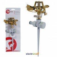 Дождеватель пульсирующий с полной/частичной зоной полива GE-0052 Intertool на костыле, круг/сектор полива до 12 м. Brass, Zinc all