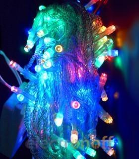 Гирлянда новогодняя светодиодная 4 цвета 100LED