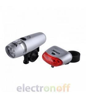 Комплект LED фонарей для велосипеда (передний, задний) серебристый VIPOW