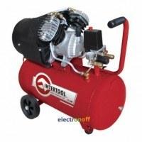 Компрессор 50 л, 3 HP, 2.23 кВт, 220 В, 8 атм, 354 л/мин, 2-х цилиндровый PT-0004 Intertool