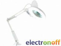 Лампа-лупа ZD-129A LED на струбцине круглая x5, диаметр 130 мм, белая
