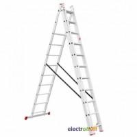 Лестница алюминиевая 3-х секционная универсальная раскладная 3 x 11 ступени 7.33 м LT-0311 Intertool