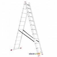 Лестница алюминиевая 3-х секционная универсальная раскладная 3 x 12 ступени 7.89 м LT-0312 Intertool