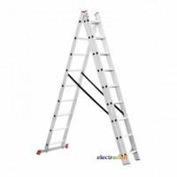 Лестница алюминиевая 3-х секционная универсальная раскладная 3 x 9 ступени 5.93 м LT-0309 Intertool
