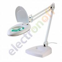 Лупа-лампа ZD-140 Led настольная круглая 5Х диаметр 130 мм белая
