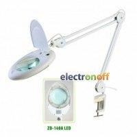 Лупа-лампа ZD-140A LED на струбцине, круглая, 2.25X (5D), диаметр 130 мм, белая
