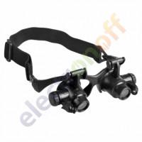 Лупа-очки бинокулярная №9892GJ c Led подсветкой увеличение x10, x15, x20, x25