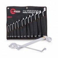 Набор накидных ключей 12 шт PROF DIN838 XT-1203 Intertool 6-32 мм Cr-V покрытие сатин-хром