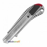 Нож с ломающимся лезвием HT-0504 Intertool 18 мм с металлической направляющей противоскользящий корпус