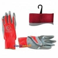 Перчатка красная вязанная синтетическая покрытая серым нитрилом на ладони 10 SP-0124 Intertool