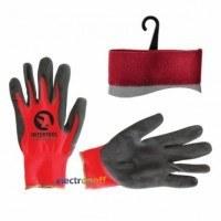 Перчатка красная вязанная синтетическая покрытая серым пористым нитрилом на ладони 10 SP-0127 Intertool