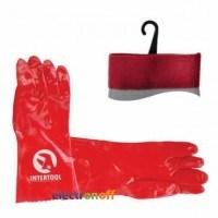 Перчатка маслостойкая х/б трикотаж покрытая PVC 35 см красная SP-0007 Intertool