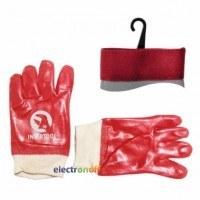 Перчатка маслостойкая х/б трикотаж покрытая PVC c вязаным манжетом красная SP-0006 Intertool