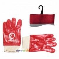 Перчатка маслостойкая х/б трикотаж покрытая PVC c вязаным манжетом красная ящик 120 пар SP-0006W Intertool