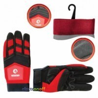 Перчатка Microfiber тканевая красная с черными вставками спандекса на ладони утолщенное неопре 10 дюймов SP-0143 Intertool