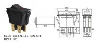 Переключатель с подсветкой on-off, черный, 4pin, LED (KCD3-201EN-11C)
