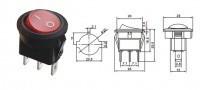Переключатель с подсветкой on-off, красный, 3pin (KCD1-101N-8)