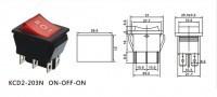 Переключатель с подсветкой on-off-on, красный, 6pin (KCD2-203N)