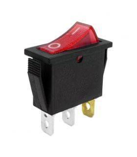 Переключатель с подсветкой on-off узкий, красный, 3pin (IRS-101/KCD3-102N)