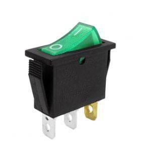 Переключатель с подсветкой on-off узкий, зеленый, 3pin (IRS-101/KCD3-102N)