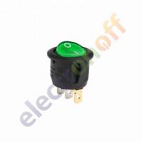 Переключатель с подсветкой on-off, зеленый, 3pin, LED (KCD1-101EN-8)