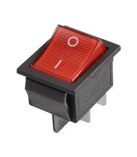 Переключатель с подсветкой широкий, красный, 4pin (IRS-201/KCD2-201N)