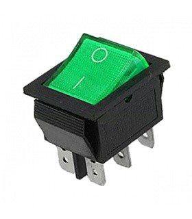Переключатель с подсветкой широкий, зеленый, 6pin (IRS-202/KCD2-202N)