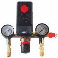 Прессостат в сборе (прессостат, редуктор, 2 манометра, предохранительный клапан, два выхода) PT-9094 Intertool
