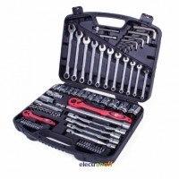 Профессиональный набор инструмента ET-6077 Intertool 1/2 и 1/4 дюйма 77 единиц головки 4-32 мм, комбинированные ключи 7-19 мм, шарнирные ключи 8-15 мм