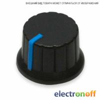 Ручка для потенциометра пластиковая КА485-7 ф24x15 h14 черная