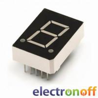 Семисегментный индикатор 10 мм, одноразрядный, зелёный, ОA (KEM-3911-BYG)