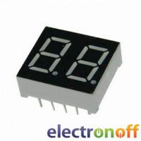 Семисегментный индикатор 14 мм, двухразрядный, зелёный, ОК (HLEC-D511GWA)