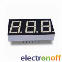Семисегментный индикатор 14 мм, трехразрядный, зелёный, ОК (E30561-L-K-8-W)