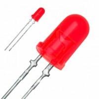 Светодиод D = 8 мм HB8A-132 красный диффузный (матовый), (ф8 h10), HUEY-JANN