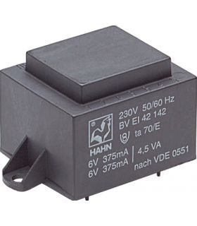 Трансформатор 15 VA 230V, 2x9V 833mA 42x50x43мм HAHN EI4831247