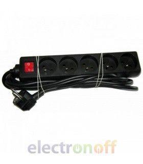 Удлинитель сетевой 5 гнезд 3м с выключателем, черный